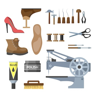Набор иллюстрации оборудования для ремонта обуви. молоток и ножницы, сапожок и игла. работаю сапожником. отдельные векторные плоские иллюстрации