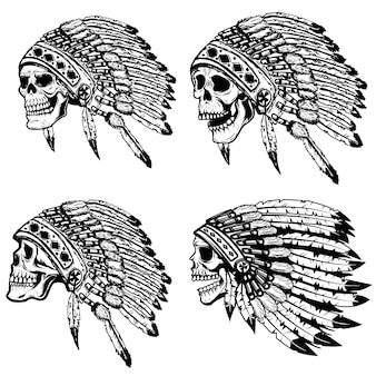 아메리카 원주민 머리 장식에서 두개골의 집합입니다. 포스터 요소, 티셔츠. 삽화