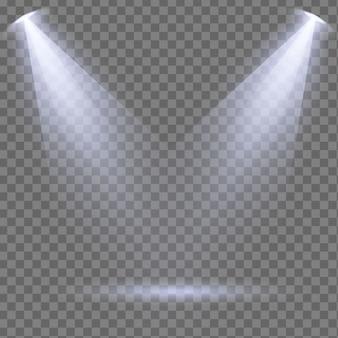 ステージ、シーン、表彰台に白いスポットライトのセットが光ります