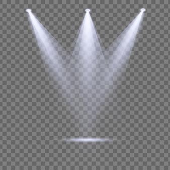 Набор белого прожектора освещает сцену, сцену, подиум