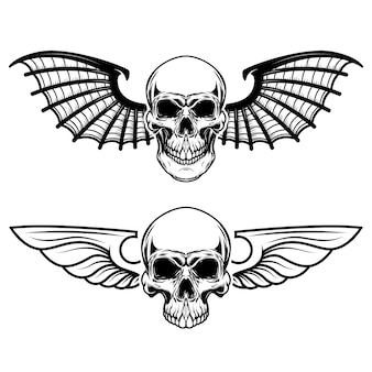 Набор крылатых черепов. череп с крыльями летучей мыши. элементы для логотипа, этикетки, эмблемы, знака, футболки. иллюстрация