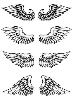 Набор крыльев на белом фоне. элементы для логотипа, этикетки, эмблемы, знака, значка. иллюстрация