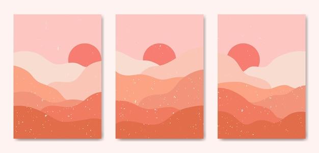 3つの抽象的な美学ミッドセンチュリーモダンカラフルな風景のセット