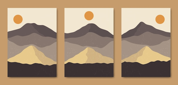 3つの抽象的な美学ミッドセンチュリー現代風景現代自由奔放に生きるポスターテンプレートのセット