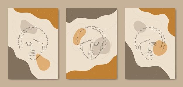 Набор из трех абстрактных эстетических современных линий искусства середины века лицо современный шаблон обложки плаката в стиле бохо.