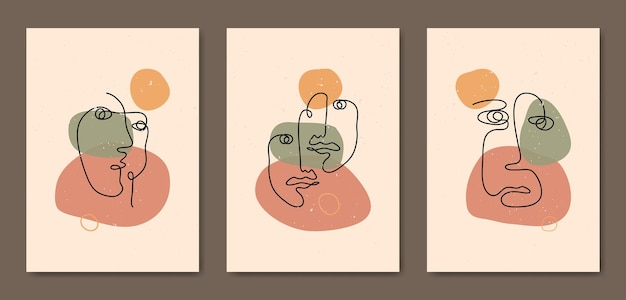 Набор из трех абстрактных эстетических современных линий искусства середины века, шаблон плаката современного бохо