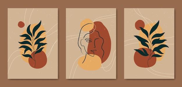Набор из трех абстрактных эстетических современных линий искусства середины века портрет лица и листья современный шаблон обложки плаката в стиле бохо.