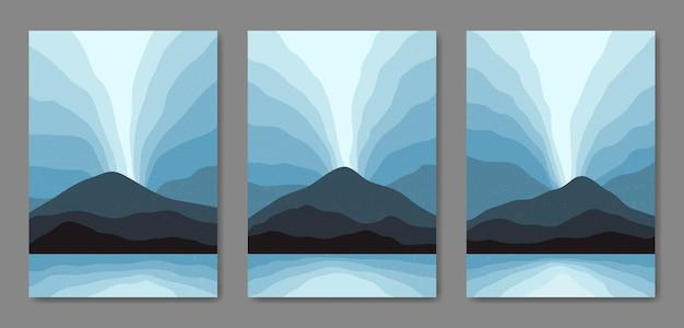세 가지 추상 미학 세트 세기 중반 현대 풍경 풍경 현대 boho 포스터