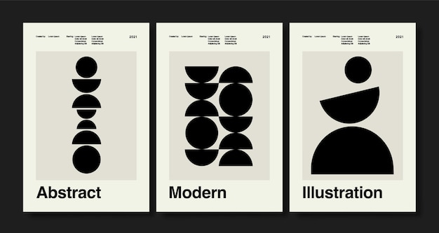 Набор из трех постеров абстрактного искусства в стиле бохо, нарисованных от руки различных форм и объектов каракули