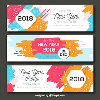 Set of three abstract colourful new year party banners