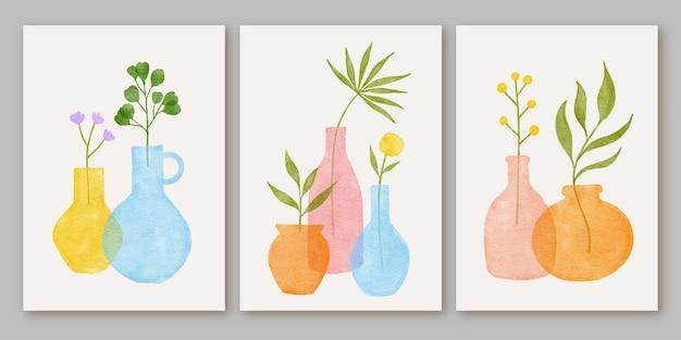 세 가지 추상적인 현대 미학 중반 세기 현대 boho 포스터 세트