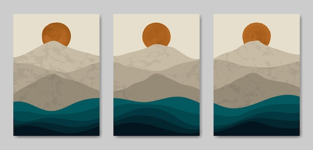 Набор из трех эстетических современных пейзажей середины века современный шаблон обложки плаката в стиле бохо