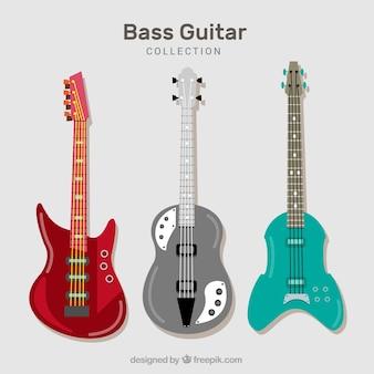 Набор из трех бас-гитар в плоском исполнении
