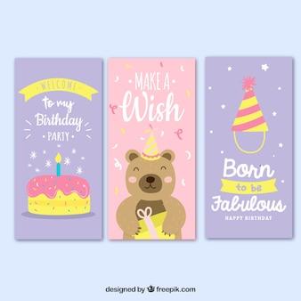분홍색과 라일락 3 생일 카드 세트