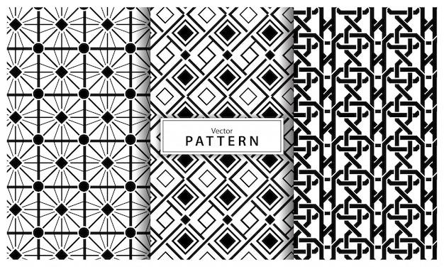 3つの黒と白の幾何学模様の背景のセットです。抽象的な線、シームレスな幾何学的抽象 Premiumベクター