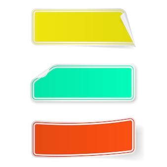 3つの空白の付箋の長いラベルのセット