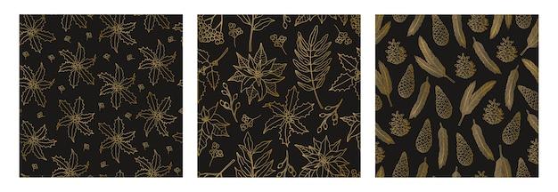 休日のシンボル、ゴールドの植物ラインと3つのクリスマスのシームレスなパターンのセットです。