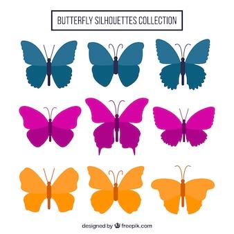 3 색된 나비 세트