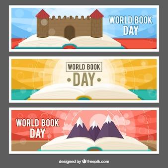世界の本の日のための3つのカラフルなバナーのセット