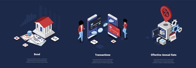 Набор из трех композиций о деньгах и банковском деле. изометрические иллюстрации на темно-синем с текстом