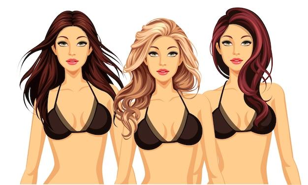 Набор из трех крутых причесок с красивыми моделями