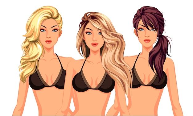 美しいモデルと3つのクールなヘアスタイルのセット