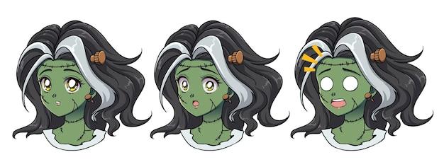 세 귀여운 애니메이션 좀비 소녀의 집합입니다. 두 가지 다른 표현, 레트로 애니메이션 스타일 손으로 그린 그림. 흰색 배경에 고립.
