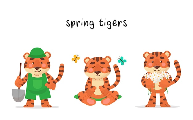 かわいい虎のキャラクター3体セット。春の各月のキャラクター。ベクトル漫画のスタイル。イラストは子供向け商品、ステッカー、バナー、ポスターに適しています。
