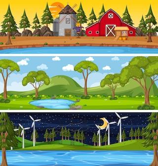 Набор из трех горизонтальных сцен с природой