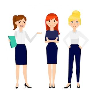 3つの異なる笑顔ビジネス女性のセット