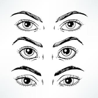 세 가지 다른 여성의 눈 세트. 손으로 그린 그림