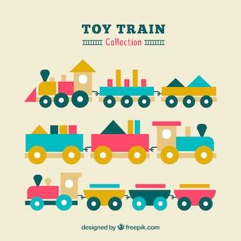 3つのフラット玩具列車のセット