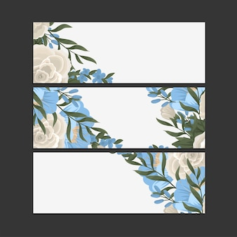 Набор из трех цветочных баннеров Бесплатные векторы