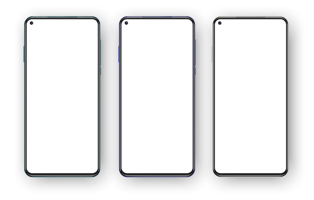Набор из трех безрамочных телефонов, изолированных на белом фоне.