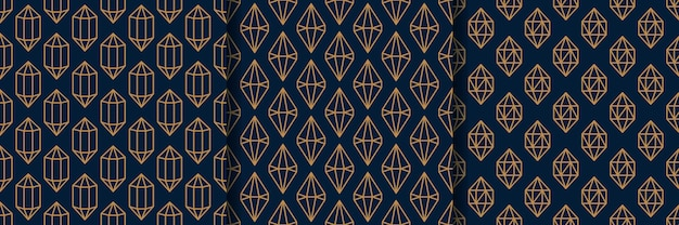 최소한의 트렌디한 스타일의 3개의 보석 원활한 패턴 세트. 진한 파란색 배경에 금색 선형 다이아몬드입니다. 벡터 종이, 카드, 초대장, 직물에 대 한 추상적인 기하학적 질감.