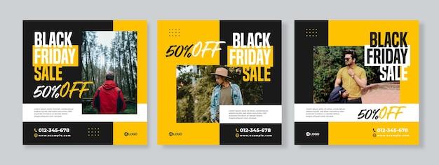 검은 금요일 판매 소셜 미디어 팩 템플릿의 세 가지 기하학적 배너 세트