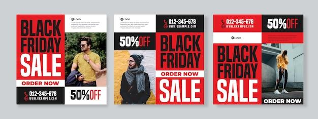 검은 금요일 판매 소셜 미디어 팩 템플릿의 세 가지 기하학적 타이포그래피 배너 세트
