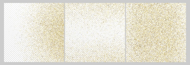 Набор из трех фонов конфетти золотой блеск, изолированные на белом прозрачном фоне. праздничная текстура с ярким световым эффектом. векторная иллюстрация.