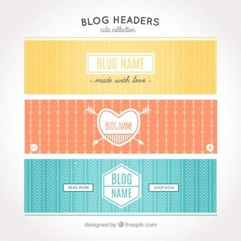 빈티지 스타일의 3 개의 헤더 블로그 세트