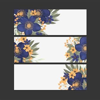 3つの水平バナーのセット。bオリエンタルスタイルの美しい花柄。あなたのテキストのための場所。