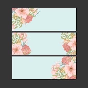 3つの水平方向のバナーのセット。オリエンタルスタイルの美しい花柄。あなたのテキストのための場所。