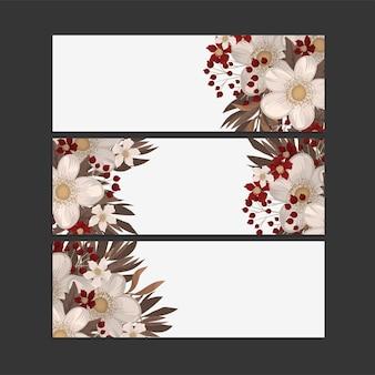 3つの水平方向のバナーのセット。オリエンタルスタイルの美しい花柄。