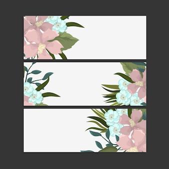 繊細なパターンの花と3つの水平バナーのセットです。