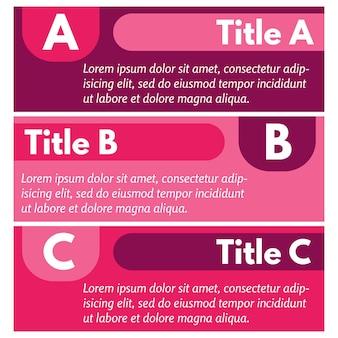 Набор из трех горизонтальных красочных баннеров вариантов. пошаговый шаблон оформления инфографики. векторная иллюстрация