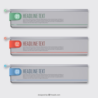 色の詳細を3インフォグラフィックバナーのセット
