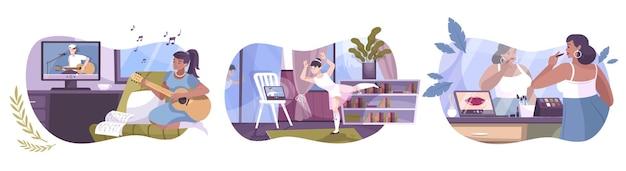 家のイラストで物事をしている人々のフラットな画像と3つの孤立した趣味のオンライン構成のセット