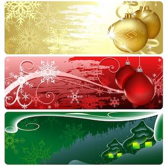 3 럭셔리 크리스마스 웹사이트 배너 세트