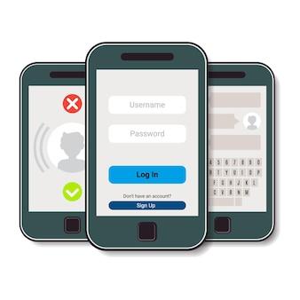 Набор из трех мобильных телефонов. мобильный телефон с авторизацией, входящим звонком и чатом. векторная иллюстрация