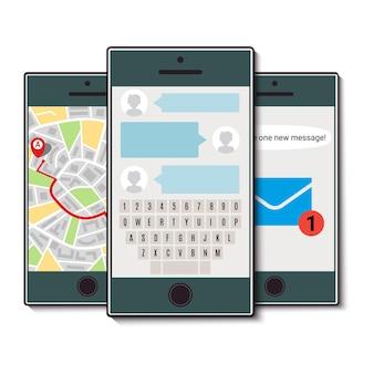 Набор из трех мобильных телефонов. мобильный телефон с чатом, картой города и входящим сообщением. векторная иллюстрация