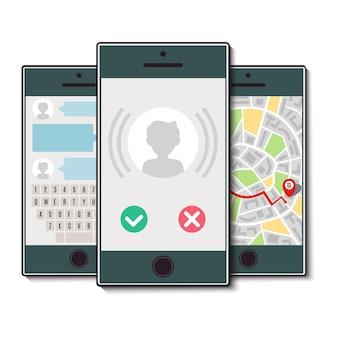 Набор из трех мобильных телефонов. мобильный телефон с входящим звонком, картой города и чатом. векторная иллюстрация